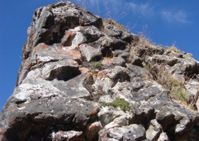 Stein von unten